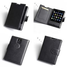 PDair Deluxe Leather Case for BlackBerry Passport - Book Type (Black)