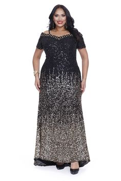 Kurves By Kimi Black Gold Sequins Off the Shoulder Plus Size Evening Gown 71181 Front View Plus Size Long Dresses, Plus Size Gowns, Plus Size Outfits, Plus Size Evening Gown, Evening Dresses, Curvy Fashion, Plus Size Fashion, Women's Fashion, Full Length Skirts