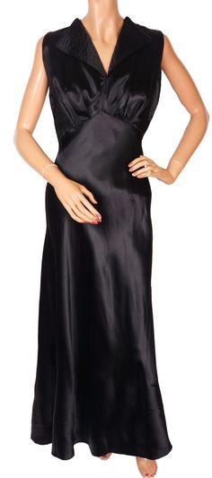 Vintage 1930s Black Satin Dress Long Evening Style with Lapels Size S