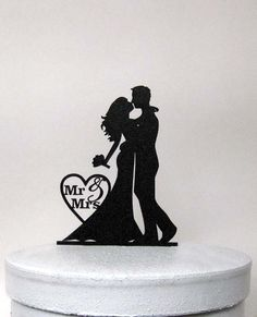 Bride and Groom Wedding Cake topper made of 1/8 black ABS    Size; 4.5W x6H    We can make any sizes and any shapes, Just email us your file for