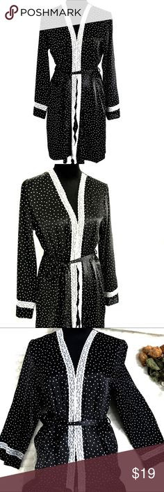"""🔥{Apt. 9} Black & White Polka-Dot Silky Lace Robe Apt 9 glam polka-dot robe 😍 Size: Small Black silky material with white polka-dots and white lace trim.  Excellent condition- no marks or snags Inside tie close with outer belt tie 100% polyester Length: approx 36"""" Clean, smoke-free, pet-free home Apt. 9 Intimates & Sleepwear Robes"""