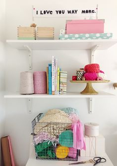 craft storage (love the yarn on the cake stand)