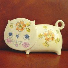 Vintage Ceramaster Flat Faced Cat Piggy Bank