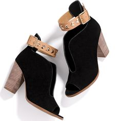 Brand New Mark.Buckle in Booties. Open toe , split vamp , contrasting and stacked heel will rev up on outfit fast . Real suede upper with real leather strap and heel . Now in stock for 100 quantity Avon Shoes Heeled Boots I Love Fashion, Fashion Boots, Heeled Boots, Bootie Boots, Avon Fashion, Ankle Straps, Real Leather, Footwear, Stylish