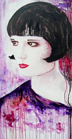 Woman Poster featuring the painting Louise Brooks by Maria Mitchell