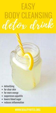 Try this easy anti-inflammatory detox water for clear skin and flat belly! It's very refreshing, suppresses appetite and is an easy way to add some extra antioxidants to your diet! | www.beautybites.org
