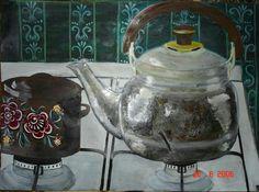 Gouache on paper Gouache, Kettle, Kitchen Appliances, Paper, Artwork, Pour Over Kettle, Kitchen Tools, Art Work, Teapot