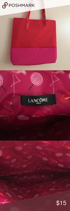 Lancôme tote So cute red with pink and a flamingo lining inside. Perfect tote for the summer :) Lancome Bags Totes