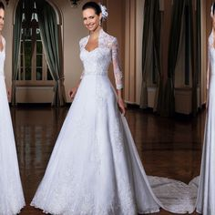 2015 New Three Quarter Sweetheart Lace Whte Ivory Wedding Dress Bridal Gown Natural A-Line Size 2 4 6 8 10 12 14 16 18 F082