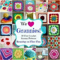 30 Free Granny Patterns and Projects Fiber Flux…Adventures in Stitching: We Love Grannies! 30 Free Granny Patterns and Projects. Grannies Crochet, Crochet Motifs, Crochet Blocks, Afghan Crochet Patterns, Crochet Stitches, Free Crochet, Knit Crochet, Crochet Afghans, Crochet Cushions