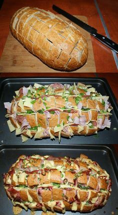 The ideal dinner: stuffed farmhouse bread for the whole f .- Das ideale Abendessen: Gefülltes Bauernbrot für die ganze Familie Hier geht es The ideal dinner: Filled farmhouse bread for the whole family Here it goes … - Appetizer Recipes, Dinner Recipes, Party Appetizers, Breakfast Recipes, Vegetable Snacks, Good Food, Yummy Food, Party Finger Foods, Cooking Recipes