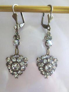Art Nouveau Deco Earrings Edwardian Vintage Style Crystal Drop Dainty Pearl