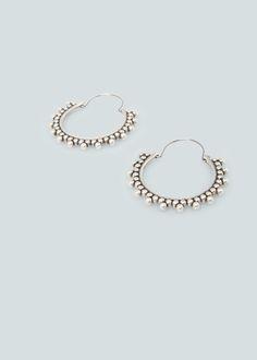 Embossed hoop earrings - Jewellery for Women | MANGO USA