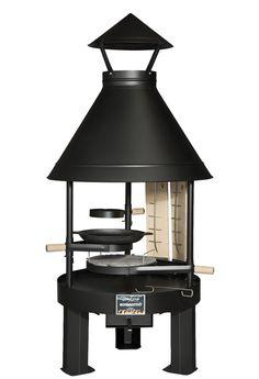 Kotakeittiö® - Tundra-Grill - Ø 80 tiefes Modell | Arbeitshöhe 45cm mit schwarzer Pulverbeschichtung