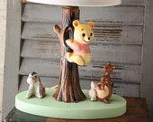 Vintage Winnie The Pooh lamp  nursery decor  vintage lighting  Kanga  Roo  Piglet  Eeyore  Vintage Disney