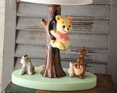 Vintage Winnie The Pooh lamp  nursery decor  vintage lighting  Kanga  Roo  Piglet  Eeyore  Vintage Disney