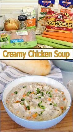 Instant Pot Creamy Chicken Soup www.joyineveryseason.com Best Chicken Recipes, Pasta Recipes, Beef Recipes, Great Recipes, Cooking Recipes, Yummy Recipes, Favorite Recipes, Fancy Dinner Recipes, Lunch Recipes