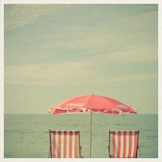 Coca Cola Red Parasol I Want To Relax By The Beach Reclining In Retro Chairs Under A Pink Umbrella For An Entire Day Only Getting Up Take Dip