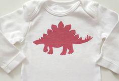 Pink Stegosaurus Fuschia  on White Onesie  3M by MoMoPics on Etsy