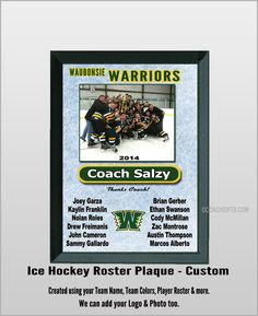 Coach Gifts  - Ice Hockey Team Roster Plaque