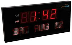 Ivation Big Oversized Digital Red LED Calendar Clock with Day and Date Digital Wall, Red Led, Wall Clocks, Digital Alarm Clock, Top 14, Display, Calendar, March, Big