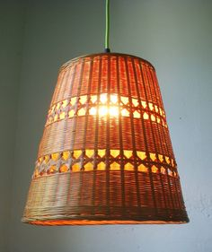 UpCycled ReCycled Repurposed Handmade Wicker Basket Case Hanging Pendant Lighting Fixture