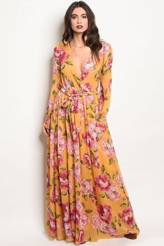 ac441a5cc81 Ladies fashion long sleeve floral print maxi dress with a v neckline