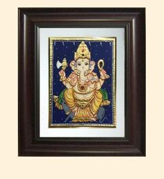 Click to enlarge Tanjore Painting, Outline Drawings, Craft Work, Ganesha, Art Pieces, Arts And Crafts, Frame, Paintings, Home Decor