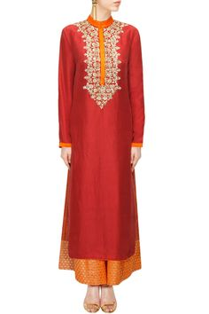 Red embroidered kurta with shibori printed pants available only at Pernia's Pop-Up Shop.