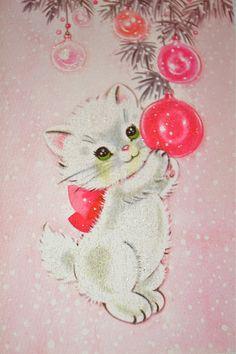 Vintage Christmas Card - Pink Christmas Kitten Cat - Glitter