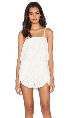Free People Tahlia Lace Romper in Ivory | REVOLVE
