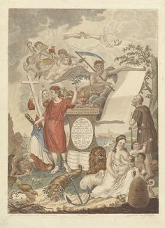 Dirk Sluyter | Geboorte- en huwelijkstafereel, Dirk Sluyter, 1809 | Allegorische voorstellingen ter gelegenheid van het huwelijk van A. Daane en M.G. Bouwmeester op 5 februari 1809. De prent bevat tal van symbolen wijzend op het geloof, de liefde, vruchtbaarheid, het verglijden van de tijd, geluk en tegenslag. Een jongeman met een brandende fakkel en een olijftak draagt een met bloemen opgesmukt juk en is aan zijn voeten geketend. Naast hem staat het Geloof. Zij vertrapt onder haar voeten…