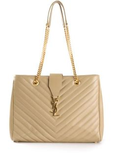 saint laurent, Classic MONOGRAM SAINT LAURENT shopping bag in dove ...