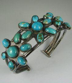 Old Heavy Navajo Turquoise Tri-Cluster Bracelet