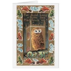 Old-fashioned Halloween Owl Card - diy cyo personalize design idea new special