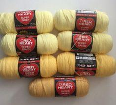Lot 7 New Red Heart Super Saver Yarn Worsted Weight Pale Yellow Lemon Yellows Cornmeal Destash Knitting Crochet Supplies