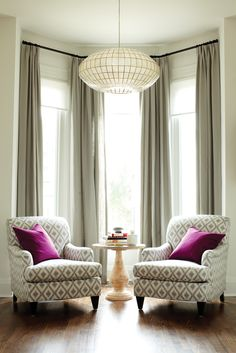 How to make the room look bigger: Living room, two armchairs, large chandelier, tall windows, drapes hung REALLY high! - Let Grant McIntosh Design Inc. help you create this space - Let Grant McIntosh Design Inc help you to make this happen in your home My Living Room, Home And Living, Living Room Decor, Accent Chairs For Living Room, Curtain Ideas For Living Room, Bedroom Decor, Dining Room, Formal Living Rooms, Living Spaces