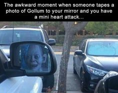 ... that would be freakin' scary no matter who's pic is taped to your mirror. .