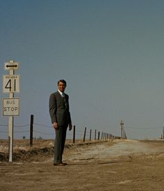 "Cary Grant about to get a dusting in Hitchcock's ""North by Northwest."""