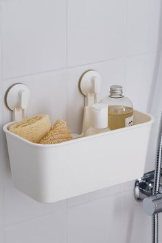 This bathroom caddy does double duty, housing your bathroom necessities and keeping them off the floor while you clean up.