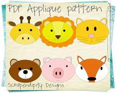 fabric applique templates | Fabric Applique Template - Animal Bundle Applique Pattern / Kids Quilt ...
