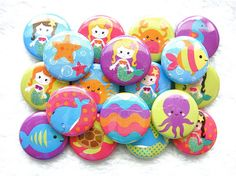 Mermaid Buttons - PIN BACK - 1 inch pinback buttons - mermaid party favors