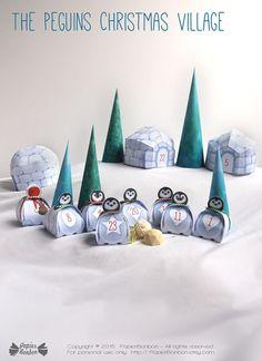 Advent calendar printable Penguins Christmas von PapierBonbon