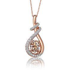 Oval Morganite & Diamond Twist Drop Pendant in 10k Rose Gold