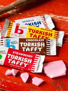 Bonomo Turkish Taffy | Old-Fashioned Candy We used to eat this all the time--at the pool, at the movies, just randomly. The vanilla flavour always made my mouth feel weirdly coated inside.