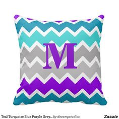 Teal Turquoise Blue Purple Grey Gray Chevron Pillow