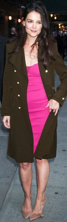 Who made  Katie Holmes' suede pumps, pink dress, and green coat that she wore in New York on December 20, 2012?