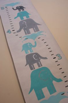 Stacked Elephants Growth Chart Yellow and by FortunatelyCrafted