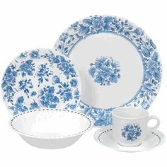 i love blue and white dishes and i love corelle dishes Melamine Dinnerware Sets, Blue Dinnerware, Tableware, Corelle Dishes, Corelle Sets, Corelle Patterns, Blue Coffee Cups, White Dishes, Vintage Dishes