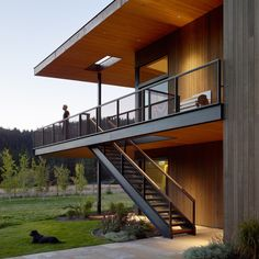 The RCR House is located in Montana, USA, and was designed by Carney Logan Burke Architects in The art collector clients for RCR house Minimal Architecture, Residential Architecture, Architecture Design, House Of Pain, Decoration Ikea, Montana Homes, Exterior Stairs, Balcony Design, Gothic Home Decor